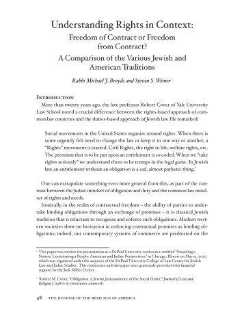 Broyde & Weiner – Understanding Rights in Context - Jewish Law