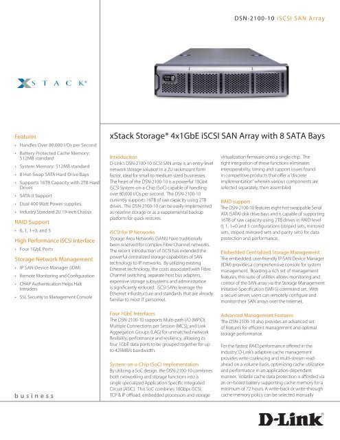 XStack StorageR 4x1GbE ISCSI SAN Array With 8 SATA Bays