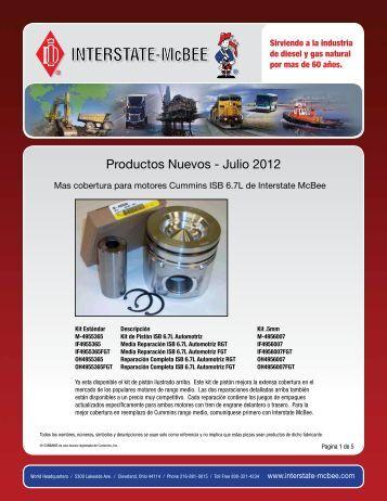 Productos Nuevos - Julio 2012 - Interstate McBee