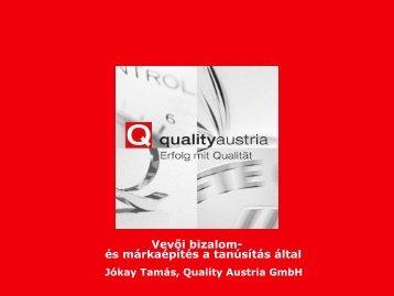 Vevői bizalom- és márkaépítés a tanúsítás által - Quality Austria