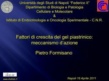Fattori di crescita del gel piastrinico: meccanismo d'azione Pietro ...
