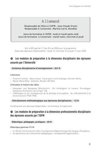 Allemand - Site auxiliaire de l'IUFM de l'académie de Grenoble