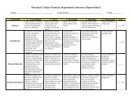 Moorpark College Chemistry Department Laboratory Report Rubric ...