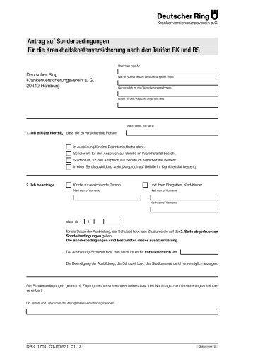 Antrag auf Sonderbedingungen für die ... - vmc-metzner.de