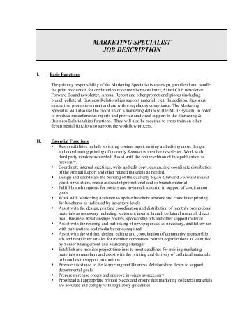 Marketing Job Descriptions Project Marketing Job Description