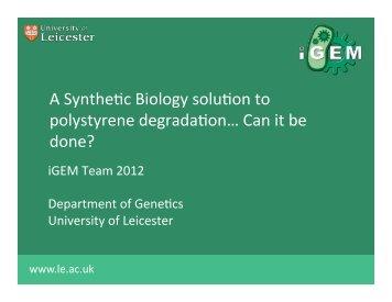 Leicester Presentation - iGEM 2012