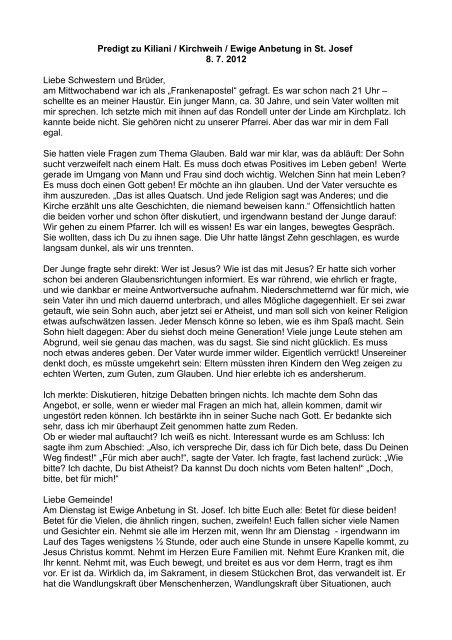 Predigt zu Kiliani / Kirchweih / Ewige Anbetung in St. Josef 8. 7 ...