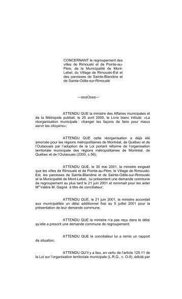 Décret de la ville de Rimouski - Affaires municipales, régions et ...