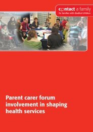 Parent carer forum involvement in shaping health services