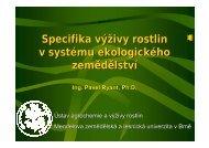 Specifika výživy rostlin v EZ_upraveny - Mendelova zemědělská a ...