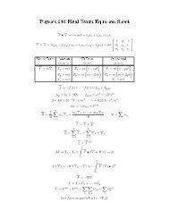 Physics 230 Final Exam Equation Sheet