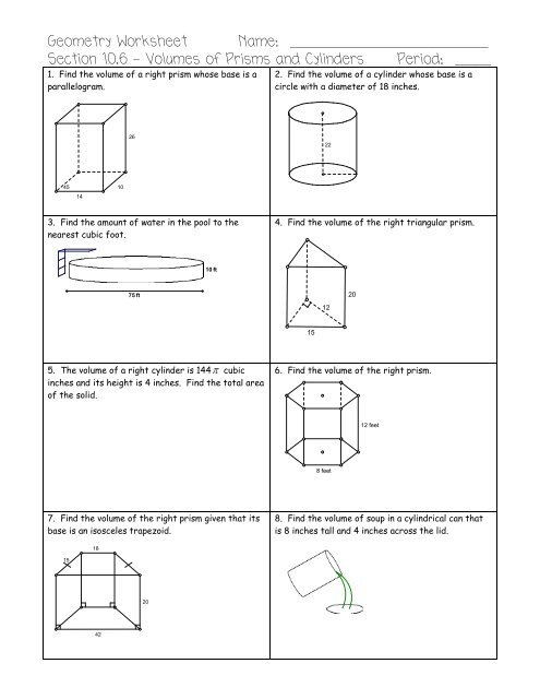 Volume Of Prisms And Cylinders Worksheet - Volume Of Mixed ...