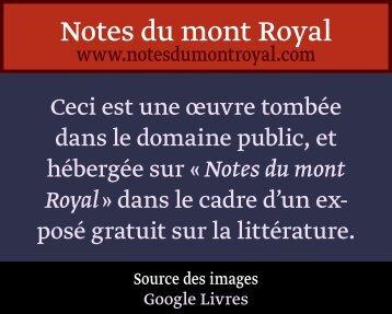 Tome I - Notes du mont Royal