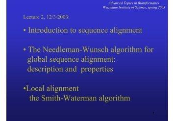 Dynamic Programming - Bioinformatics and Biological Computing ...