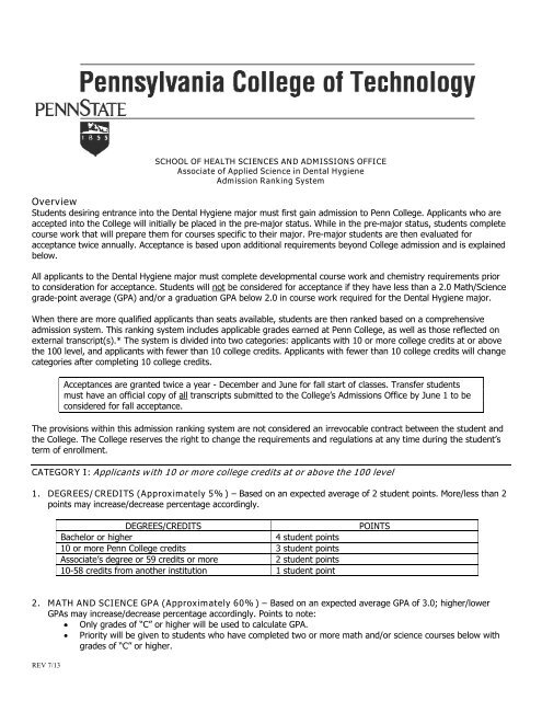 More Colleges Considering Applicants >> Dental Hygiene Pennsylvania College Of Technology