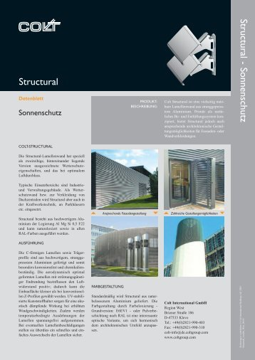 Structural - Sonnenschutz Structural - Colt International GmbH, Kleve