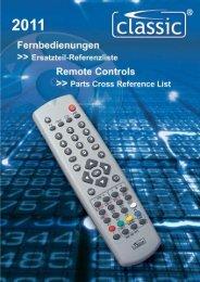 Fernbedienungen >>> Ersatzteilreferenzliste Remote Controls ...