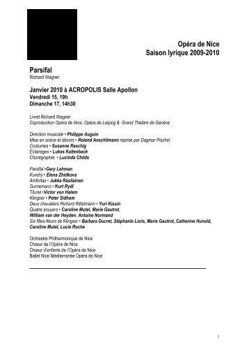 Opéra de Nice Saison lyrique 2009-2010 Parsifal - Cirm