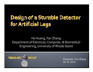 Design of a Stumble Detector for Artificial Legs
