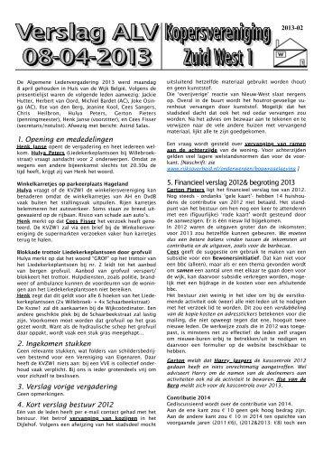 Verslag van de Algemene Ledenvergadering 2013