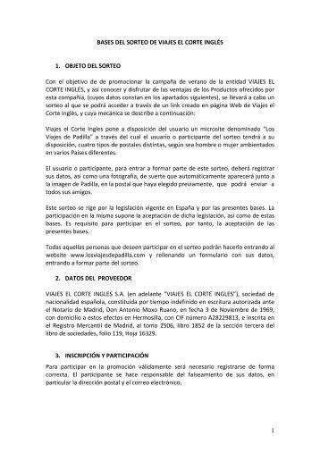 1 BASES DEL SORTEO DE VIAJES EL CORTE INGLÉS 1. OBJETO ...