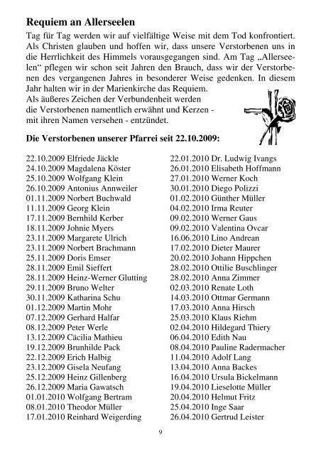 Pfarrbrief 11/2010 - Kath. Kirchengemeinde St. Marien Neunkirchen