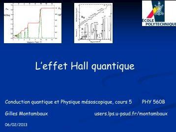 C 5 - 6 fevr.2013 - Effet Hall Quantique - Catalogue des Cours