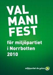 för miljöpartiet i Norrbotten 2010 - miljöpartiet de gröna i boden