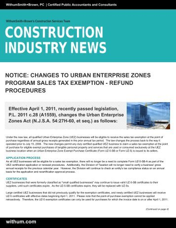Changes to Urban Enterprise Zones Program Sales Tax ... - Withum