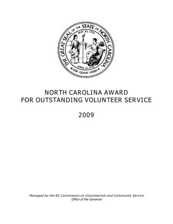north carolina award for outstanding volunteer service 2009