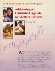 Addressing the Unfinished Business of Welfare Reform - CWDA