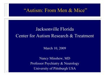 """Autism: From Men & Mice"" - University of Pittsburgh Department of ..."