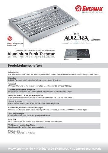 Aluminium Funk[tastatur Produkteigenschaften - Enermax