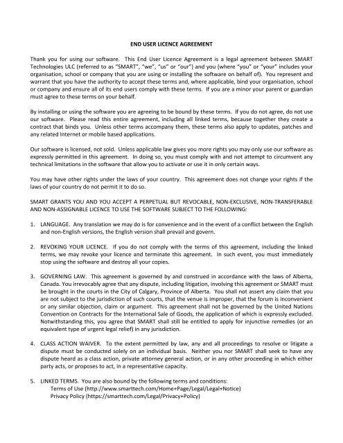 SMART Technologies ULC Software End User Licence Agreement ...