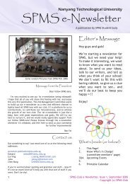 SPMS e-Newsletter - School of Physical and Mathematical Sciences