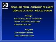 disciplina gn304 – trabalho de campo ciências da terra – núcleo ...