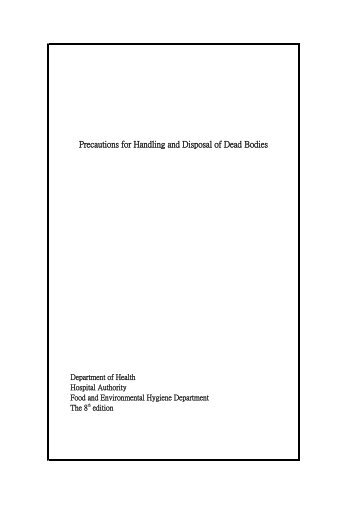 1 Precautions for handling and disposal of dead bodies
