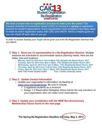 2013 Registration Checklist *pdf - Student Server at UNCW