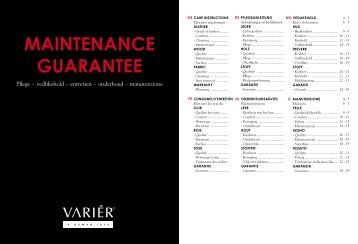 Onderhoud en Garantie Varier
