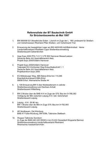 Referenzliste der BT Bautechnik GmbH für Brückenbauwerke ab ...
