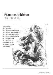 Pfarrnachrichten für die Zeit vom 13. - 21. Juli 2013 - St. Petronilla