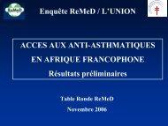 Accès aux anti-asthmatiques en Afrique francophone - ReMeD