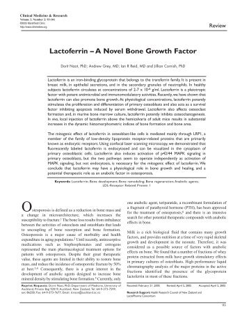 Lactoferrin – A Novel Bone Growth Factor - Clinical Medicine ...