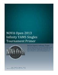 NOVA Open 2013 Infinity YAMS Singles Tournament Primer