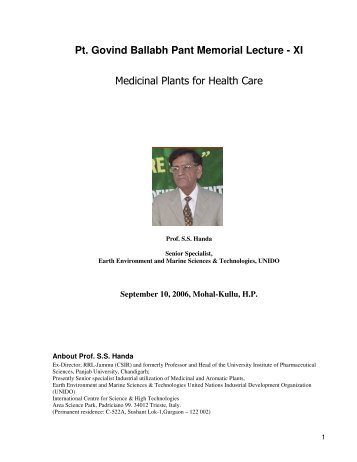 Pt. Govind Ballabh Pant Memorial Lecture - XI Medicinal Plants for ...