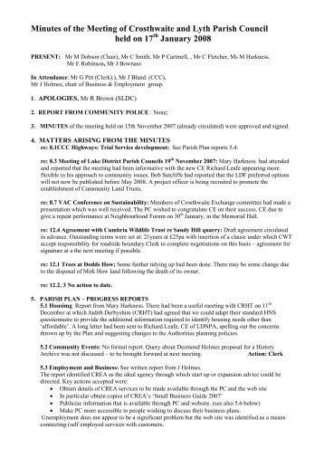 17th January - The Parish of Crosthwaite and Lyth