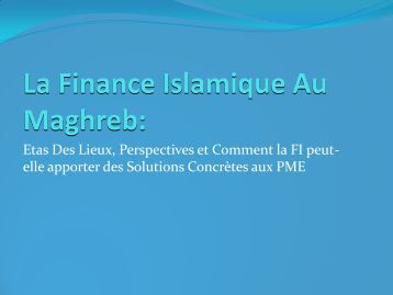La Finance Islamique au Maghreb - IDB Group Business Forum