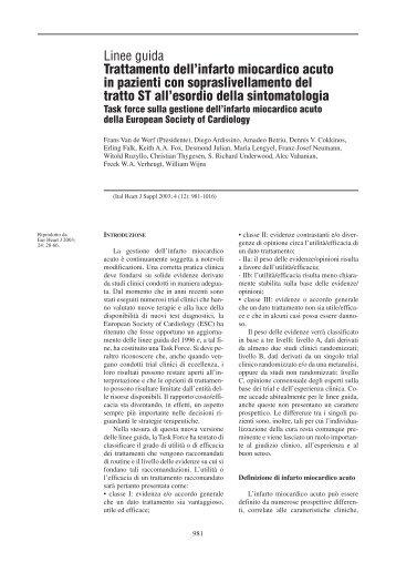 Linee guida Trattamento dell'infarto miocardico acuto in pazienti con ...
