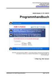 AQUA-Selekt v5.0.00-130601 Programmhandbuch - Ing. Karl Jansen