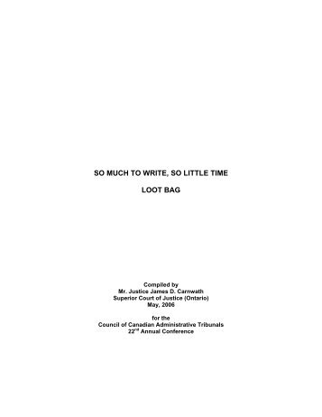 So Much to Write, So Little Time: Loot Bag Compiled by - Ccat-ctac.org